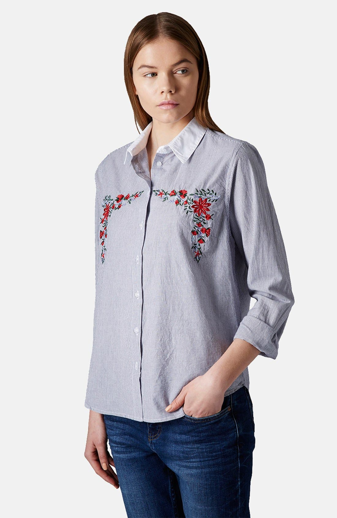 Main Image - Topshop Embroidered Cotton Shirt