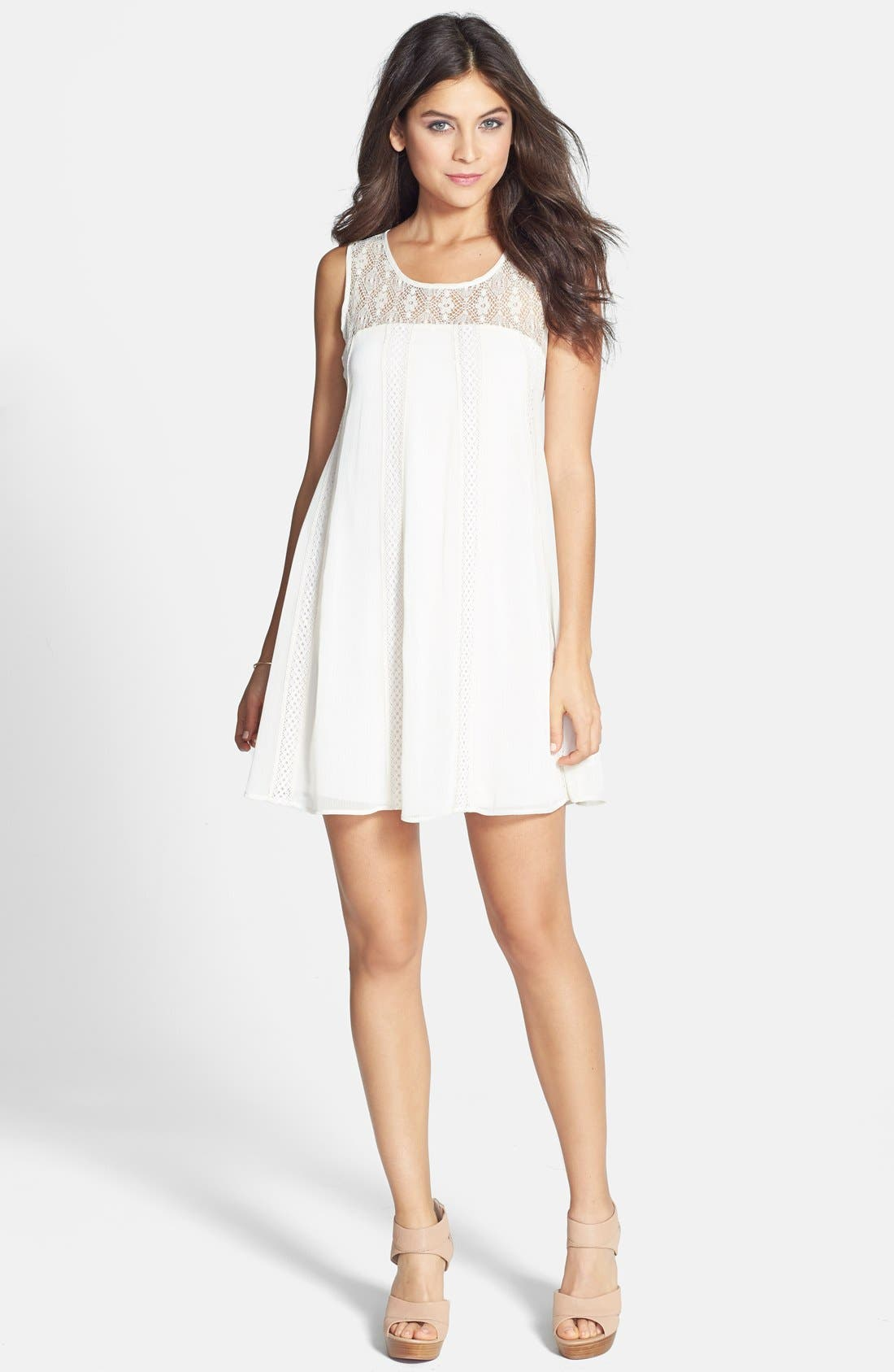 Main Image - Socialite Lace Panel A-Line Dress (Juniors)