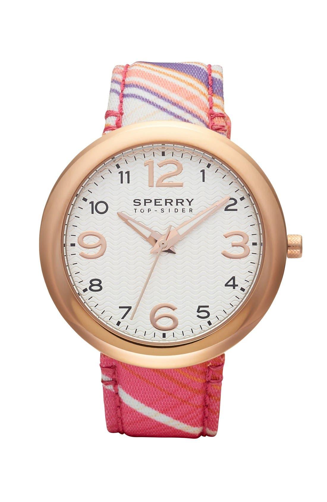 Main Image - Sperry Top-Sider® 'Sandbar' Pattern Fabric Strap Watch, 40mm