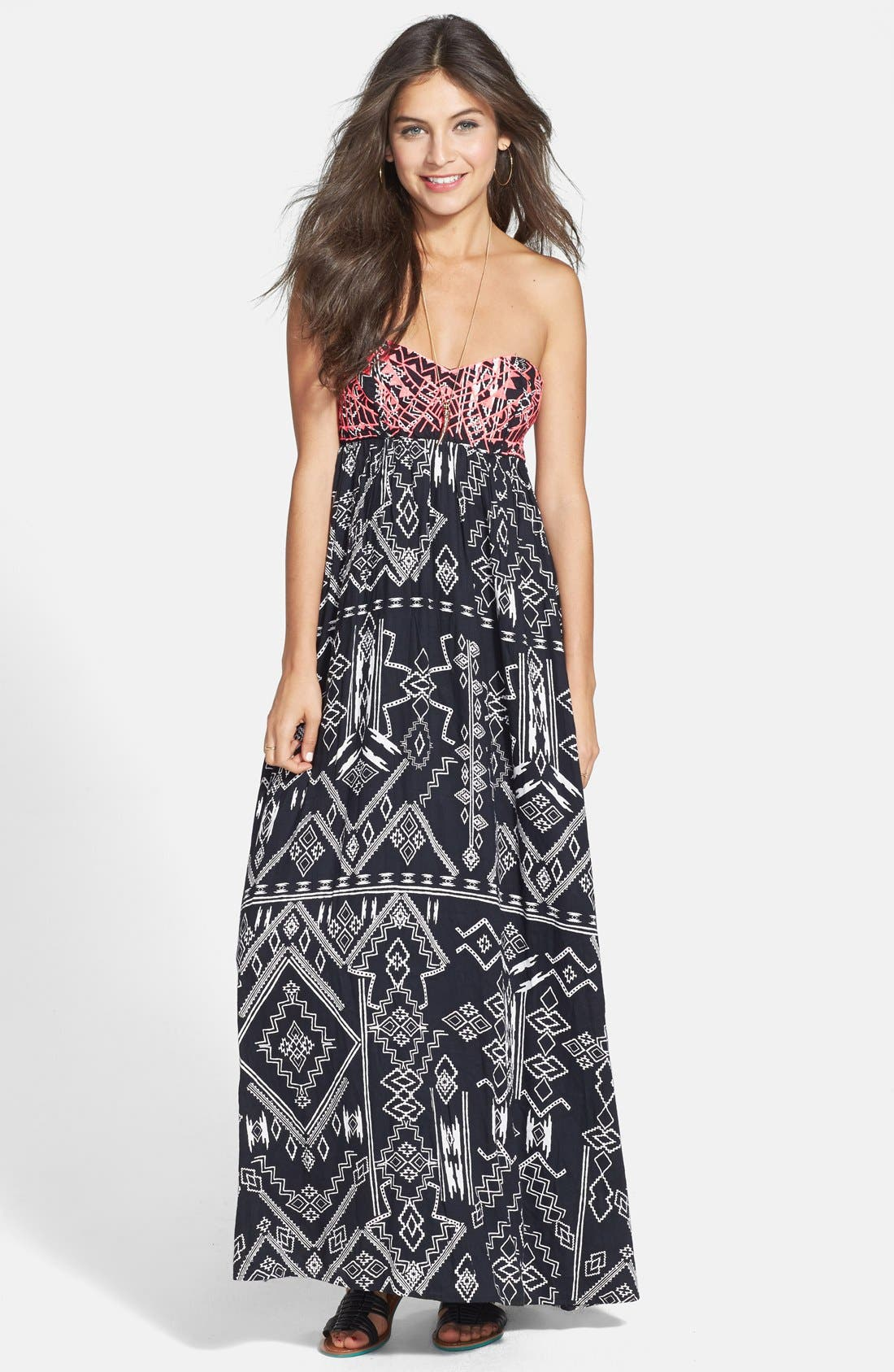 Alternate Image 1 Selected - Billabong 'Dreamed of You' Print Bandeau Maxi Dress (Juniors)