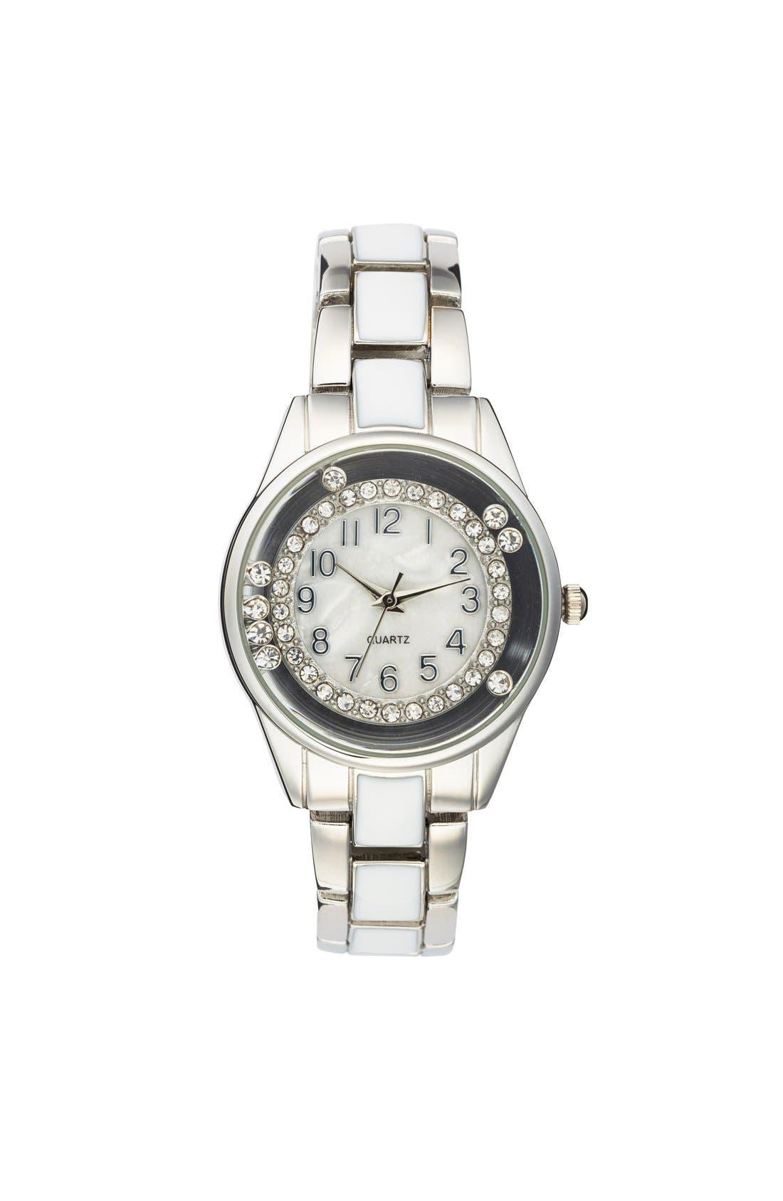 Alternate Image 1 Selected - Titanium Rhinestone Detail Bracelet Watch, 33mm (Juniors)