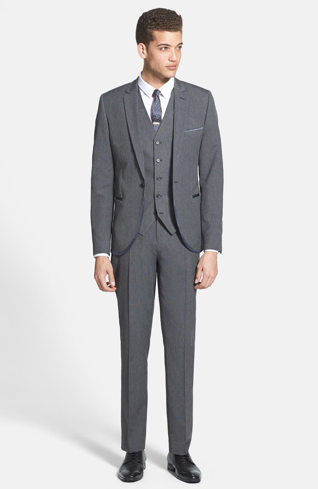 Alternate Image 4  - Topman Skinny Fit Satin Trim Grey Suit Jacket