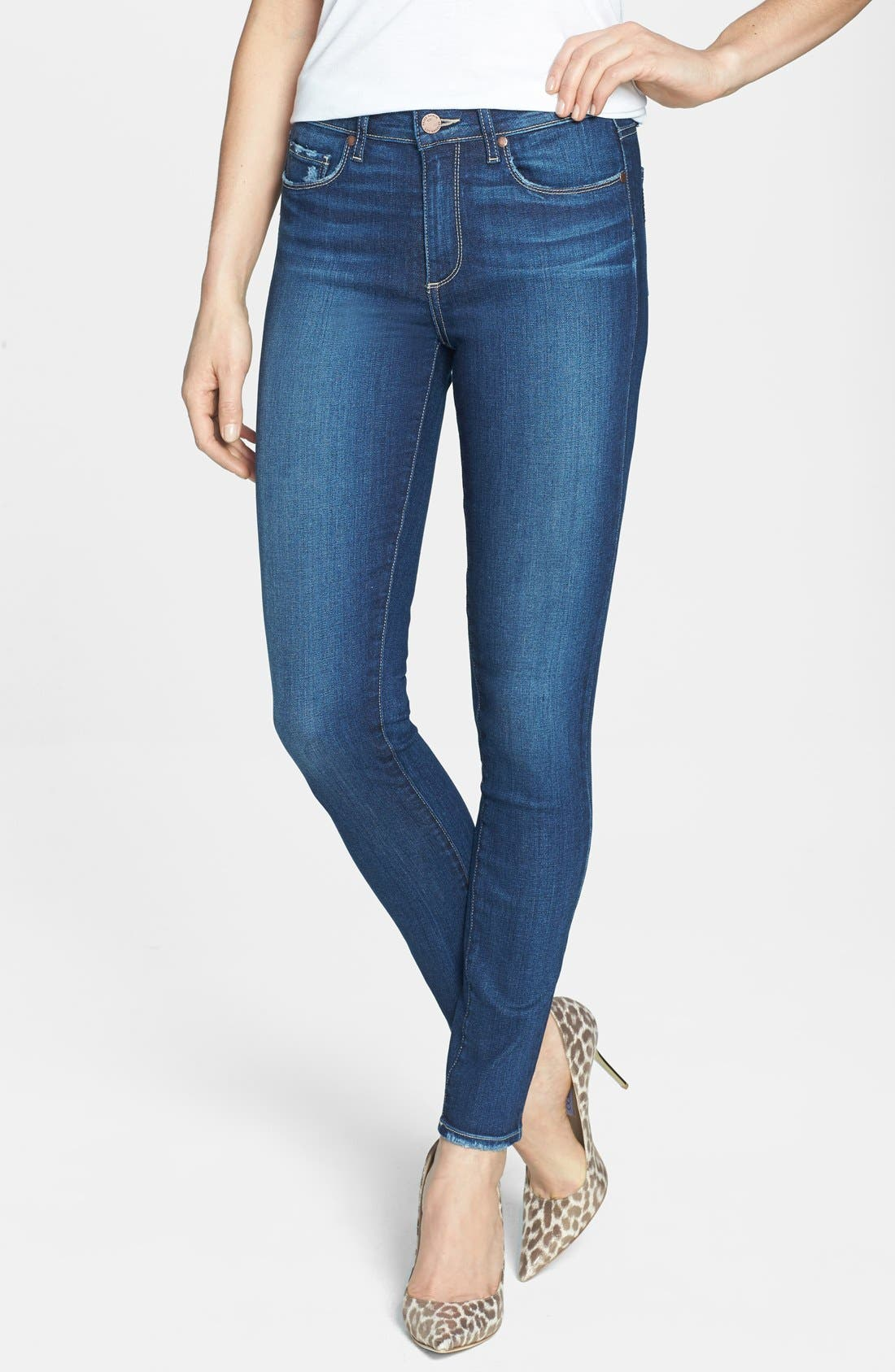 Main Image - PAIGE 'Hoxton' High Rise Skinny Jeans (Woodrow)