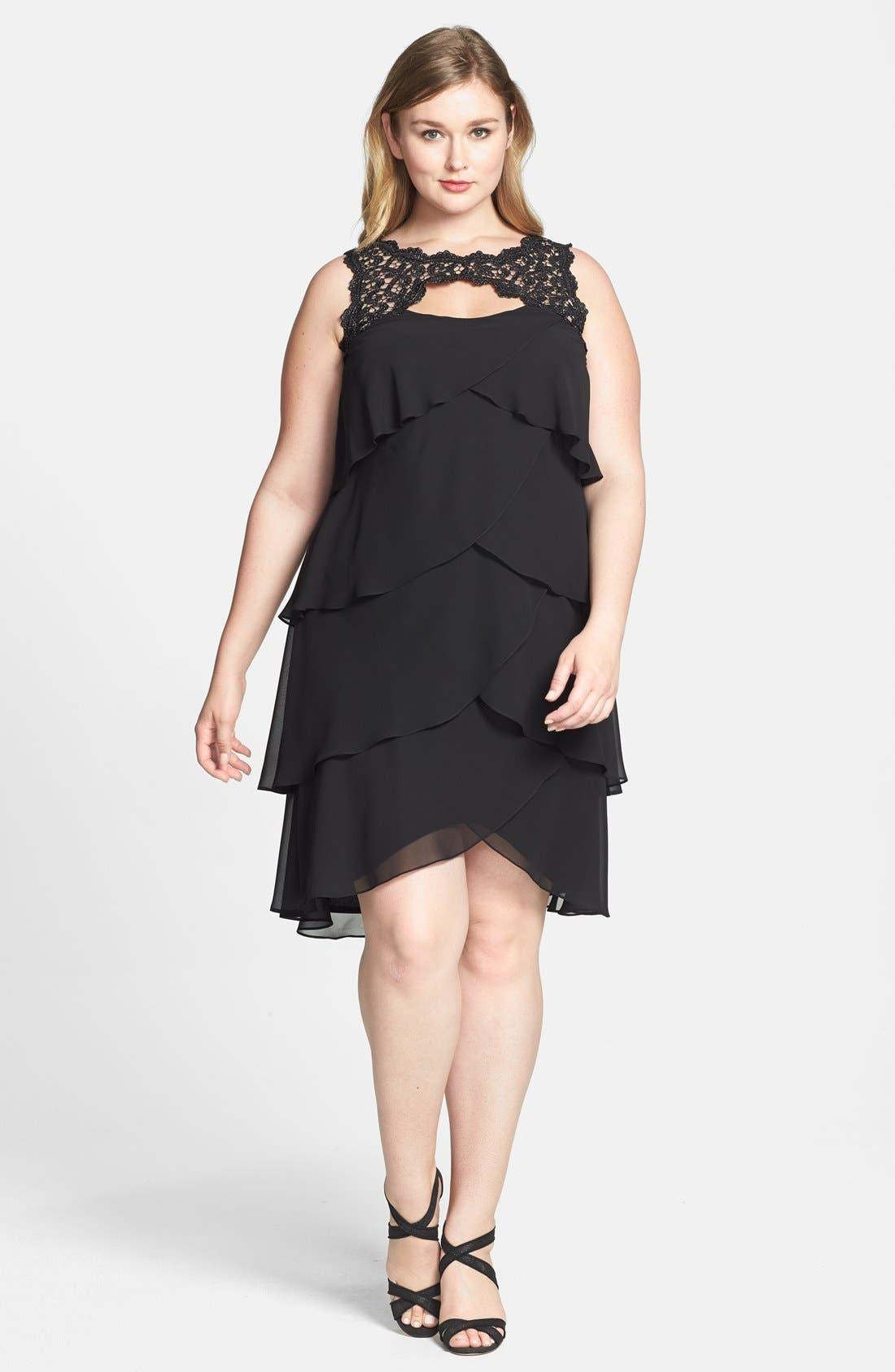 Main Image - Xscape Lace Yoke Tiered Chiffon Cocktail Dress (Plus Size)