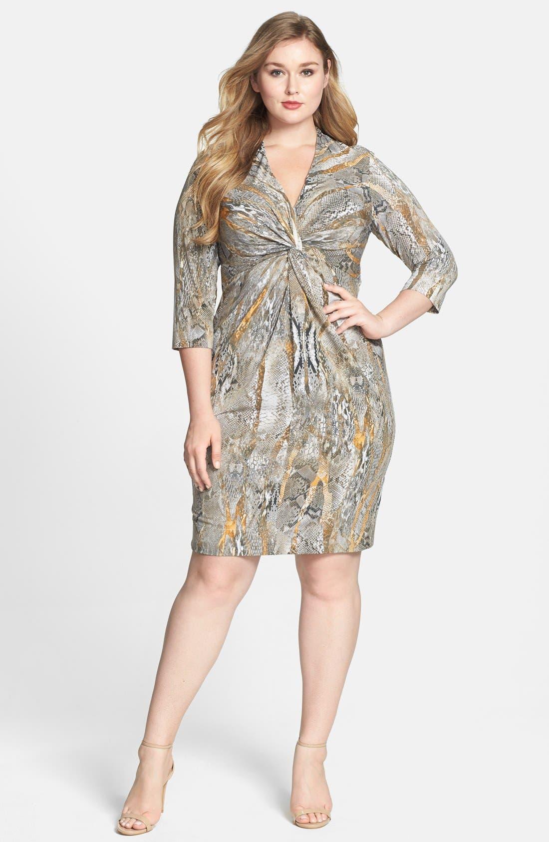 Main Image - Donna Ricco Snakeskin Print Knot Front Jersey Dress (Plus Size)
