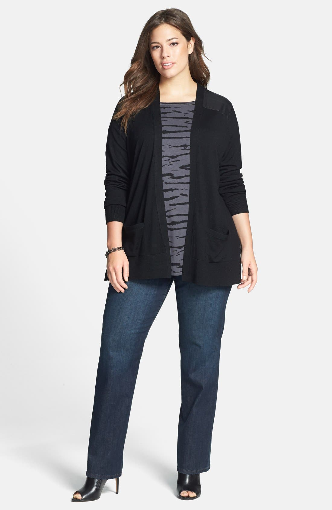 Alternate Image 4  - NYDJ 'Marilyn' Stretch Straight Leg Jeans (Harrington) (Plus Size)