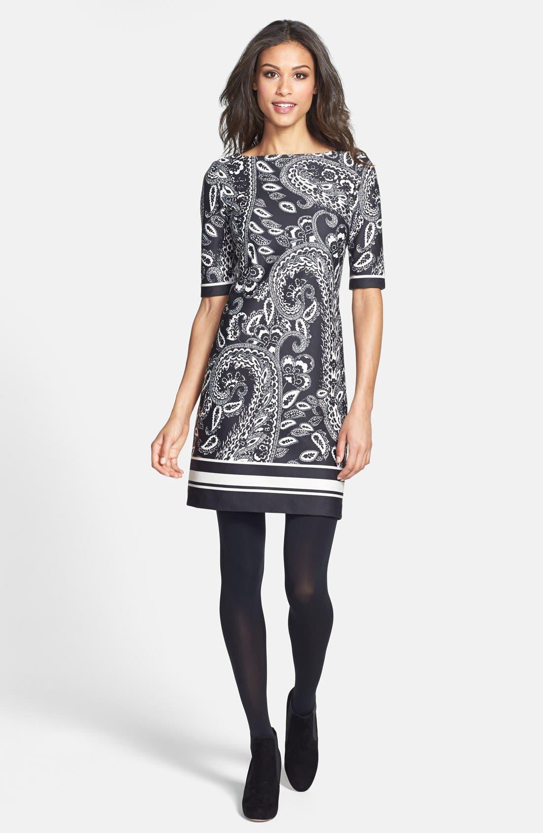 Alternate Image 5  - Eliza J Print Ponte Knit Shift Dress (Online Only)