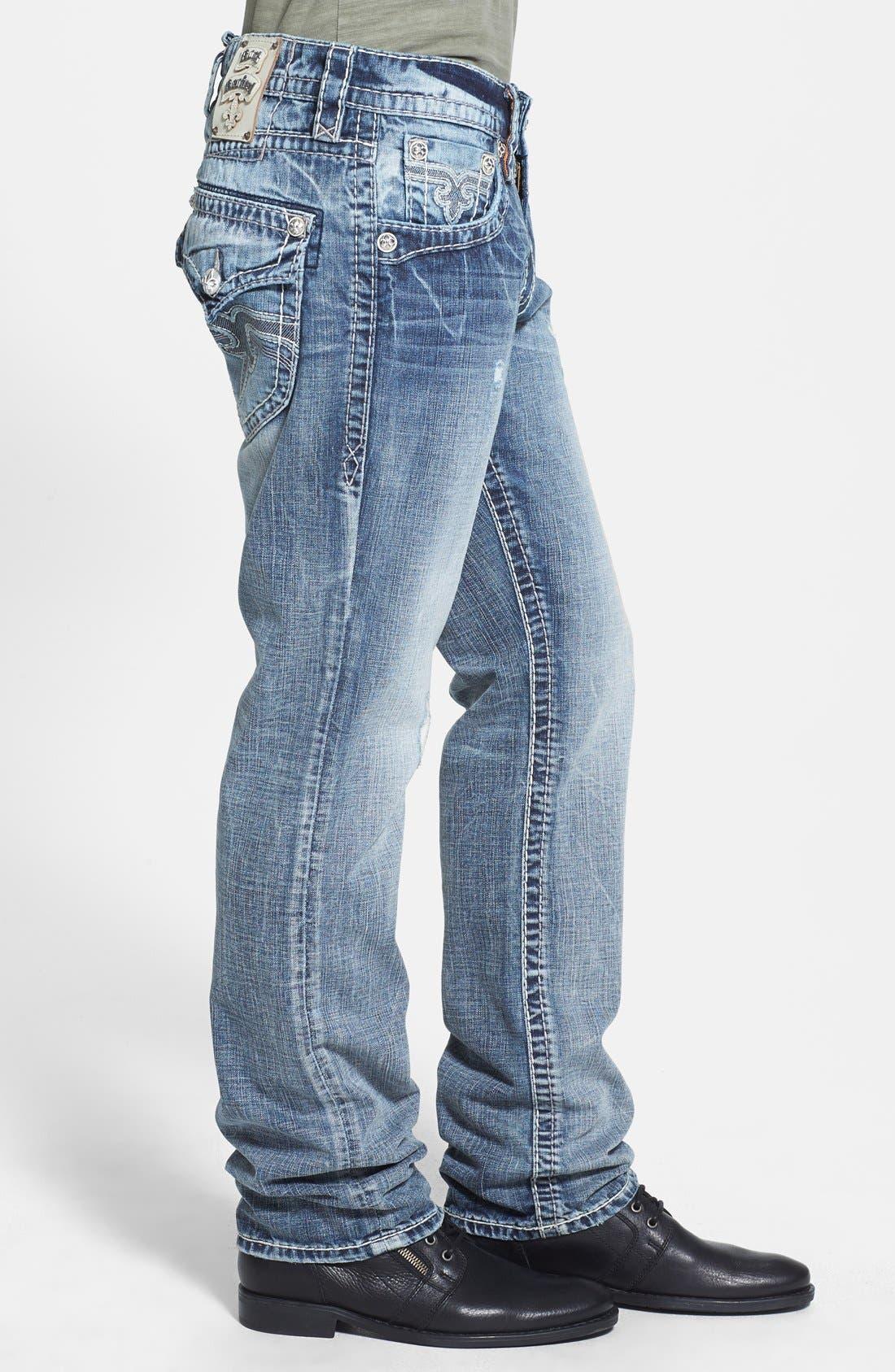 Alternate Image 3  - Rock Revival 'Jed' Straight Leg Jeans (Light Blue)