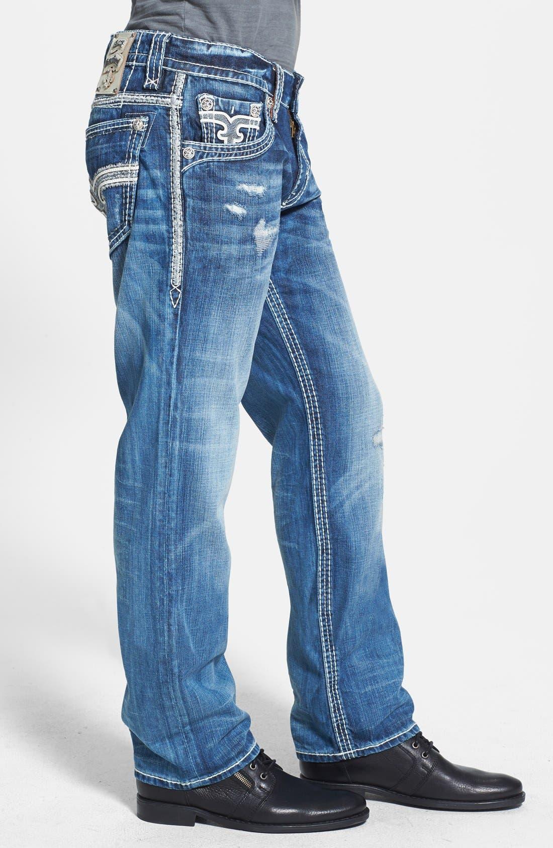 Alternate Image 3  - Rock Revival 'Rogan' Bootcut Jeans (Medium Blue)