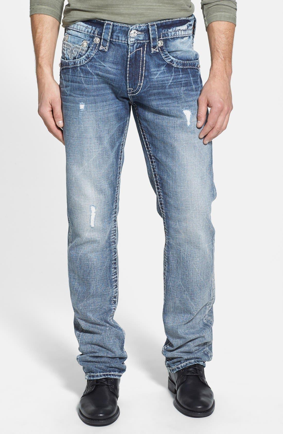 Alternate Image 2  - Rock Revival 'Jed' Straight Leg Jeans (Light Blue)