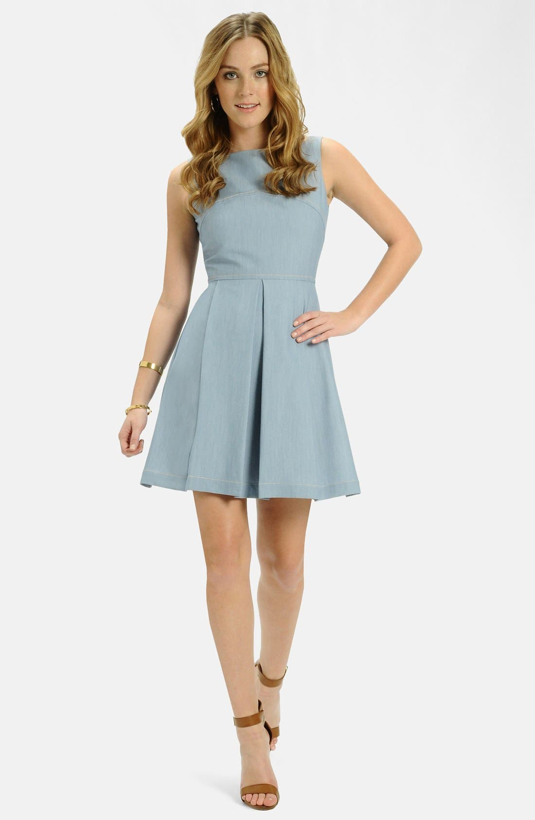 Alternate Image 3  - LABEL by five twelve Chambray Fit & Flare Dress