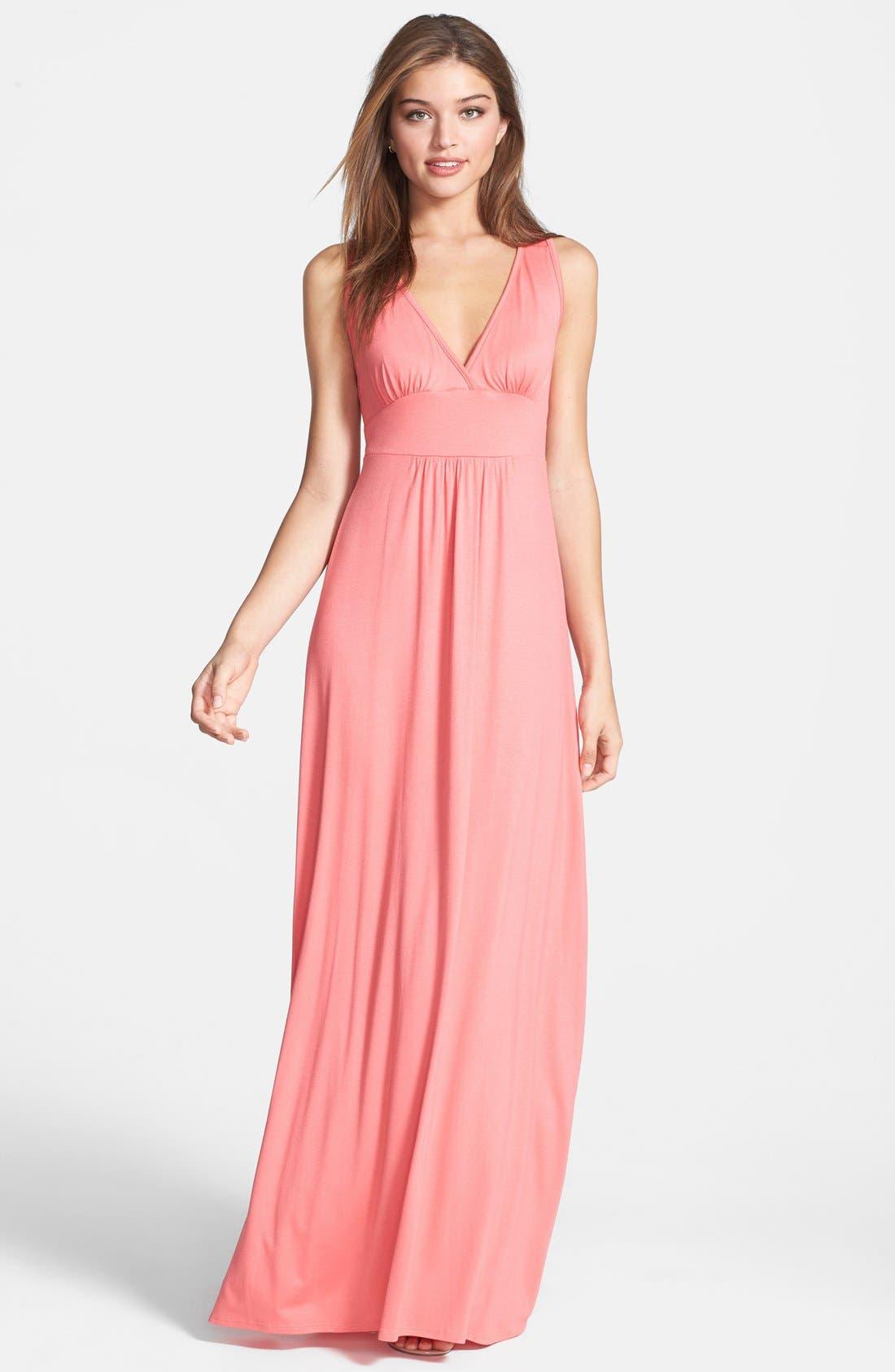 Alternate Image 1 Selected - Loveappella V-Neck Stretch Knit Maxi Dress