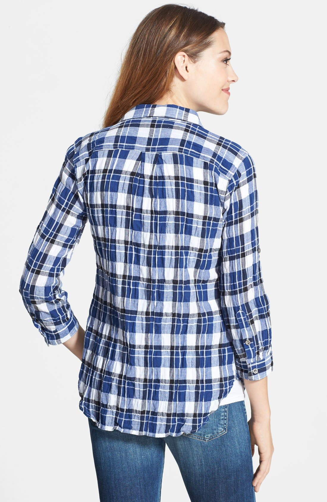 Alternate Image 2  - Sandra Ingrish Plaid Roll Sleeve Cotton Shirt (Regular & Petite)
