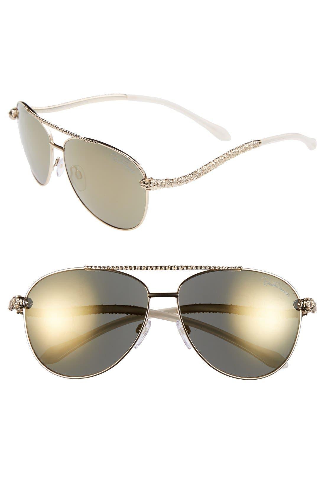 Alternate Image 1 Selected - Roberto Cavalli 'Hoedus' 59mm Snake Temple Aviator Sunglasses