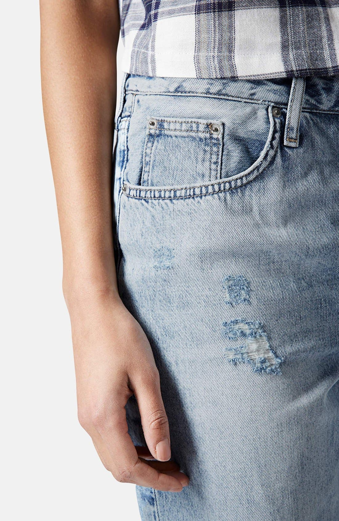 Alternate Image 4  - Topshop 'Hayden' Destroyed Boyfriend Jeans (Light)