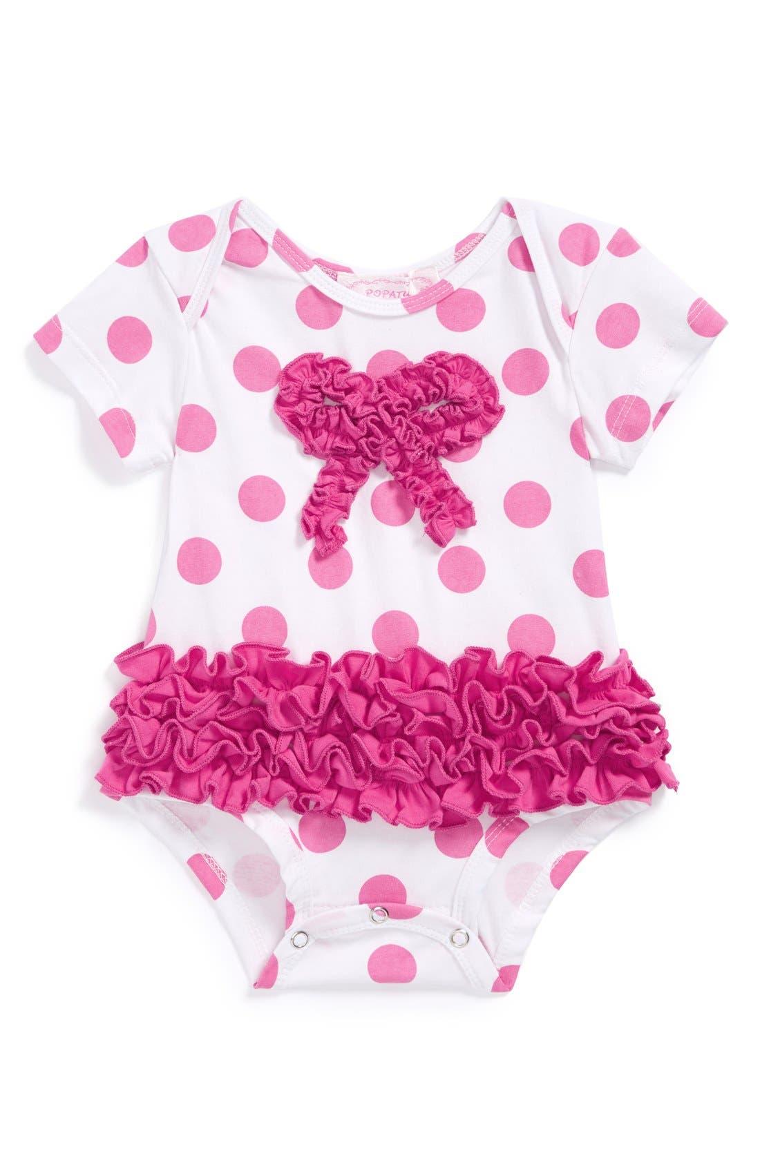 Alternate Image 1 Selected - Popatu Polka Dot Bodysuit (Baby Girls)