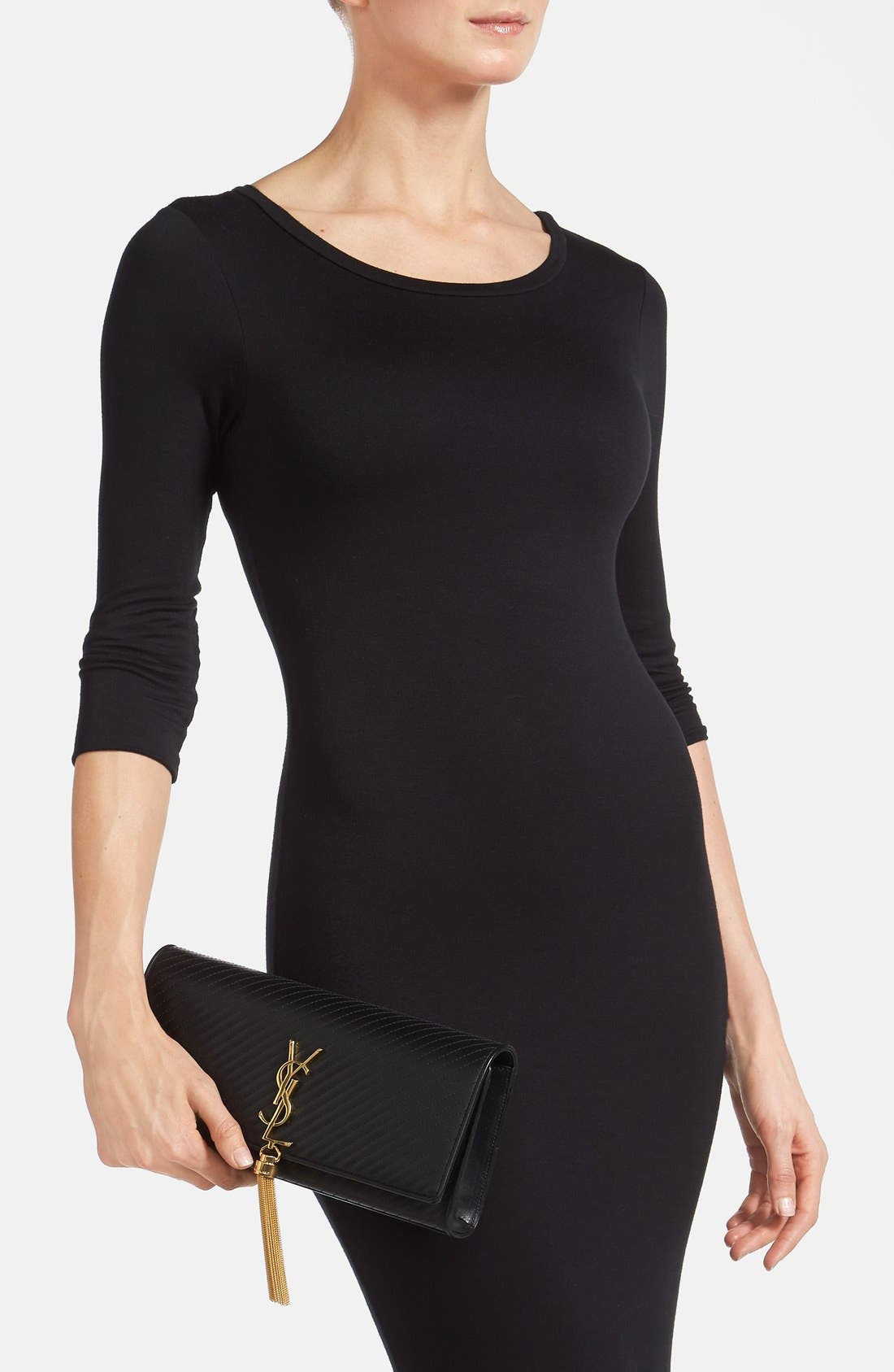 Alternate Image 2  - Saint Laurent 'Cassandre' Quilted Leather Clutch