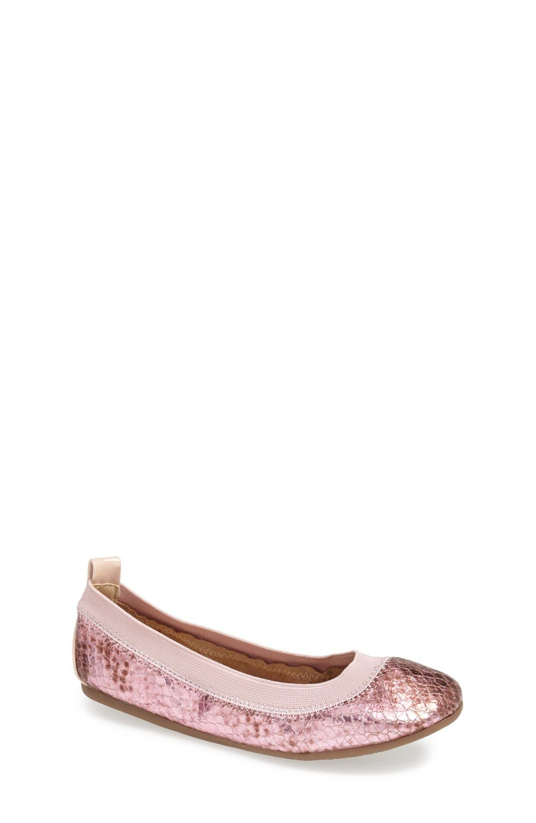 Main Image - Yosi Samra Python Embossed Metallic Leather Flat (Toddler, Little Kid & Big Kid)