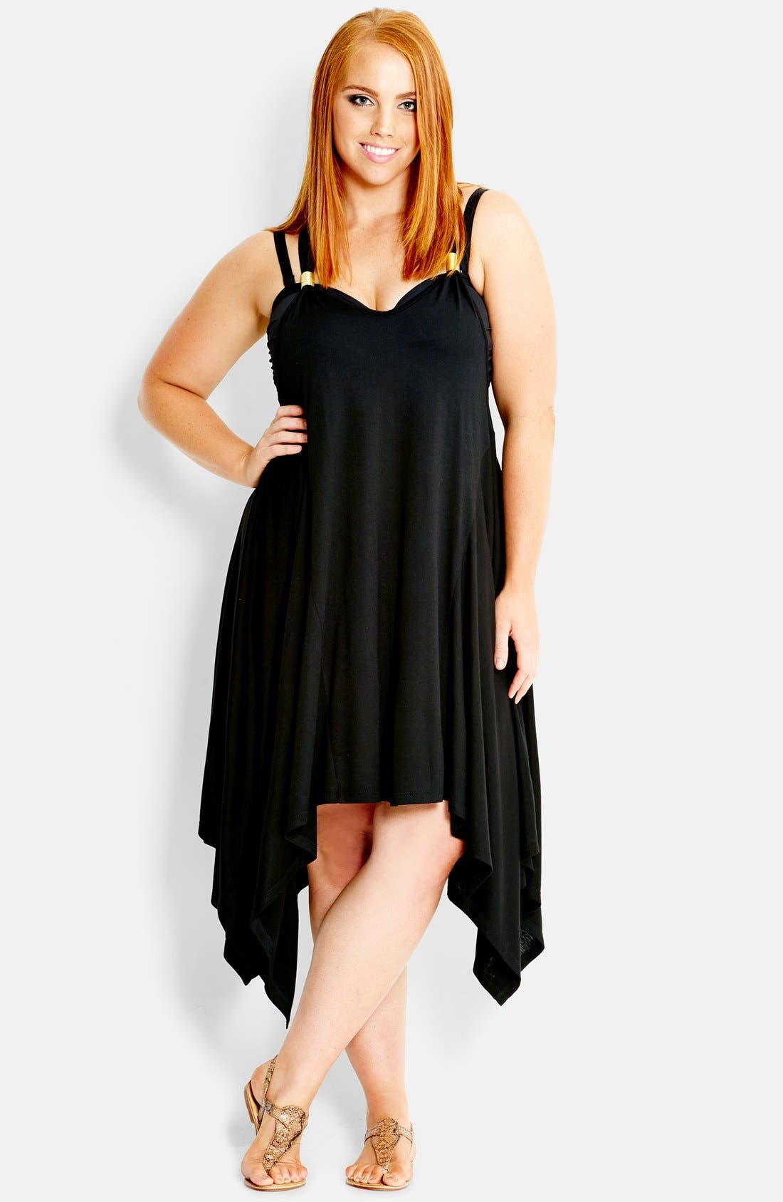 Main Image - City Chic 'Monaco' High/Low Stretch Knit Cover-Up Dress (Plus Size)