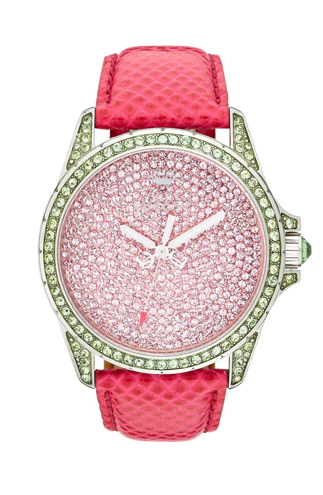 Main Image - Juicy Couture 'Stella' Pavé Crystal Leather Strap Watch, 40mm