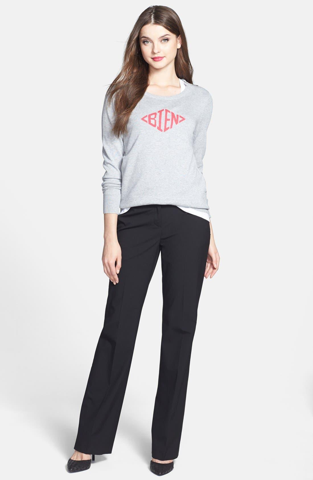 Alternate Image 4  - Halogen® 'Bien' Shoulder Zip Intarsia Sweater (Regular & Petite)