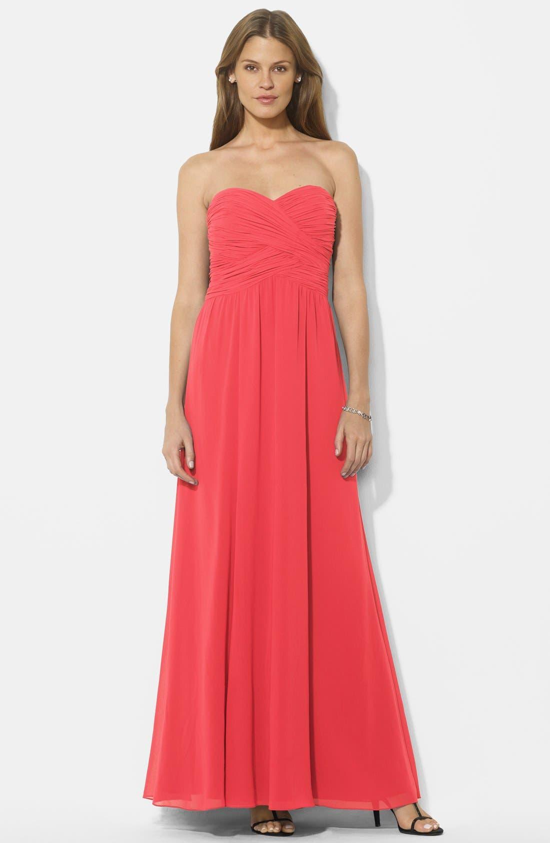 Main Image - Lauren Ralph Lauren Crossover Bodice Georgette Gown