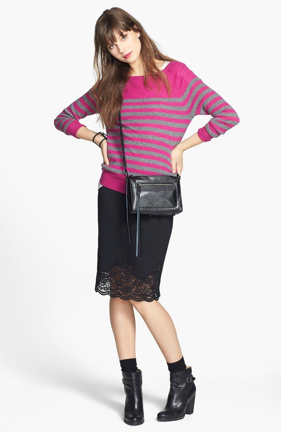 Alternate Image 2  - Vince Camuto Lace Hem Stretch Ponte Pencil Skirt (Regular & Petite)