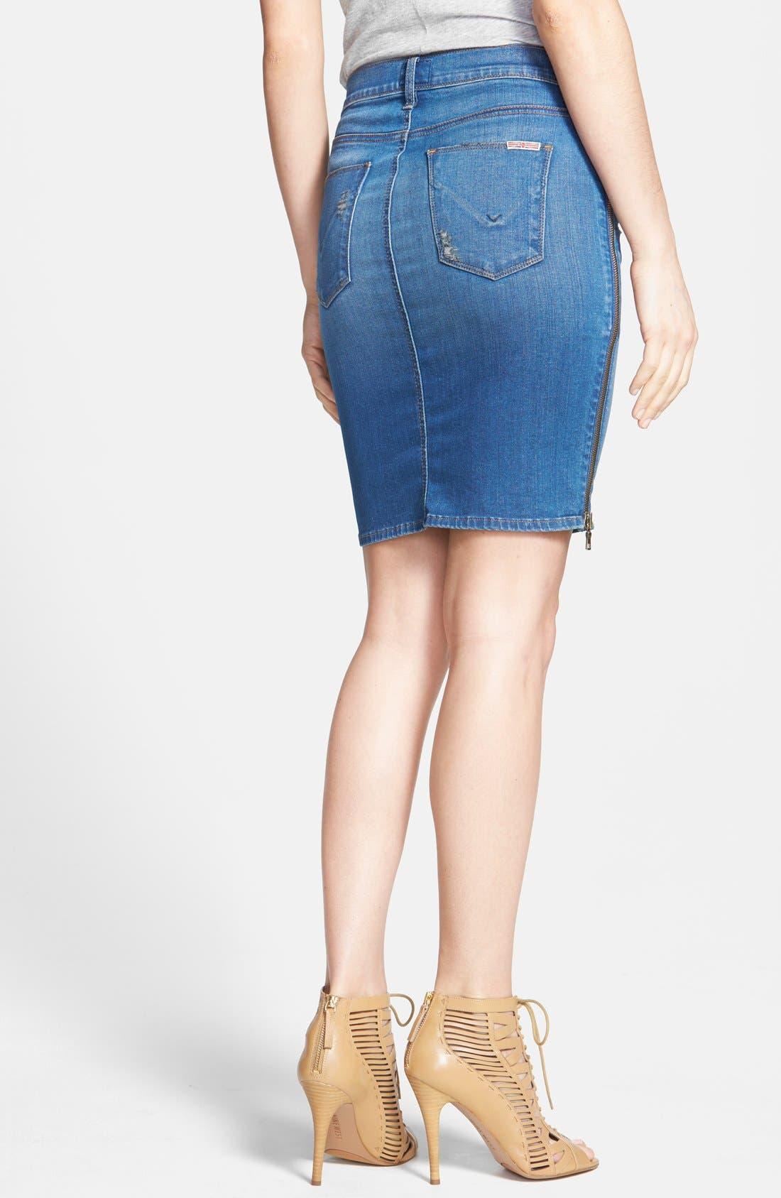 Alternate Image 2  - Hudson Jeans Side Zip Denim Skirt