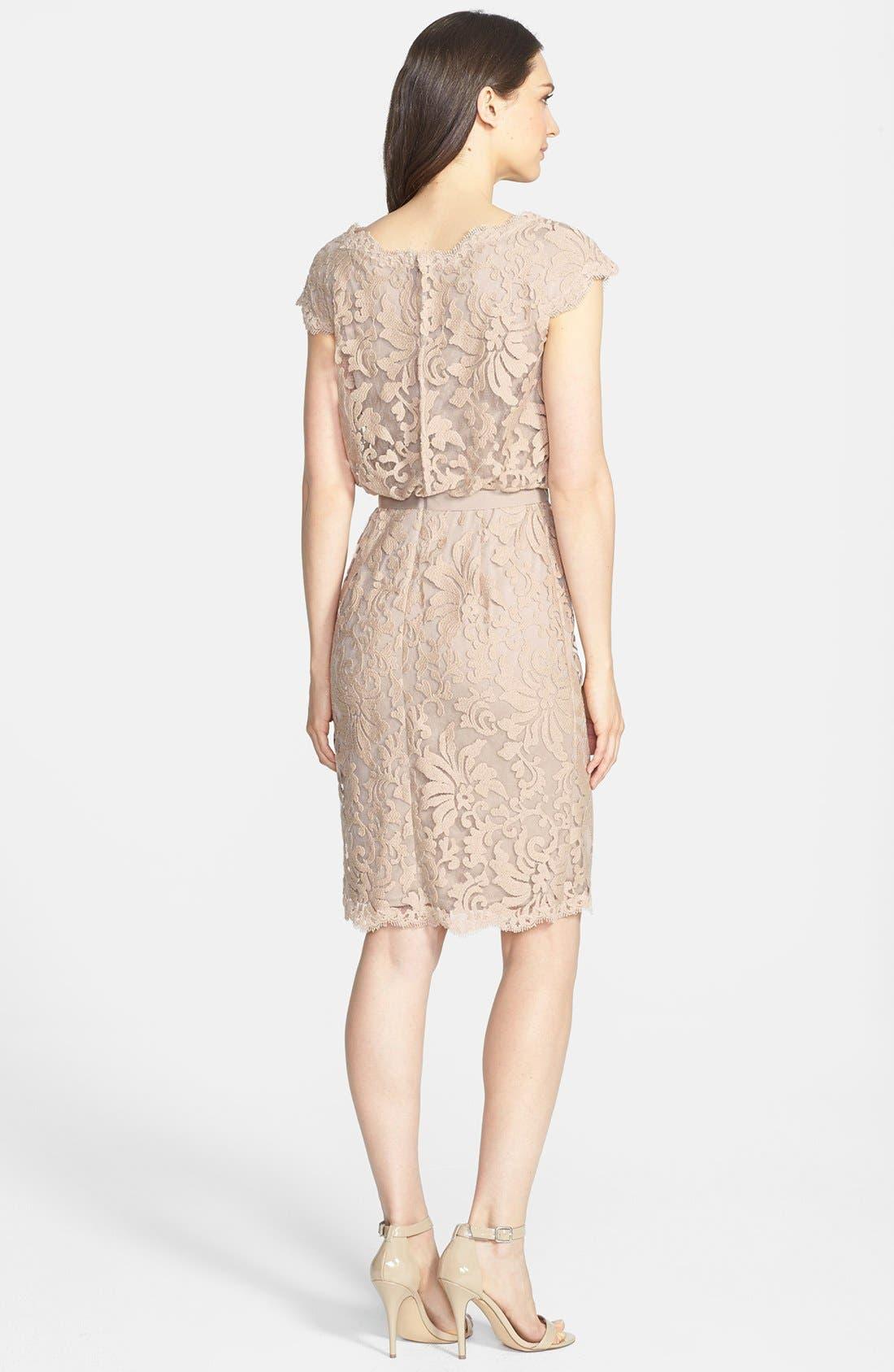 Alternate Image 3  - Tadashi Shoji Lace Blouson Dress