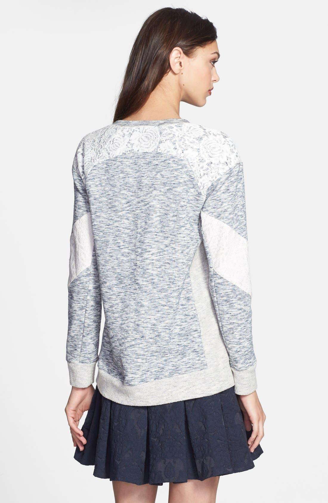 Alternate Image 2  - Rebecca Taylor Lace Insert Sweatshirt