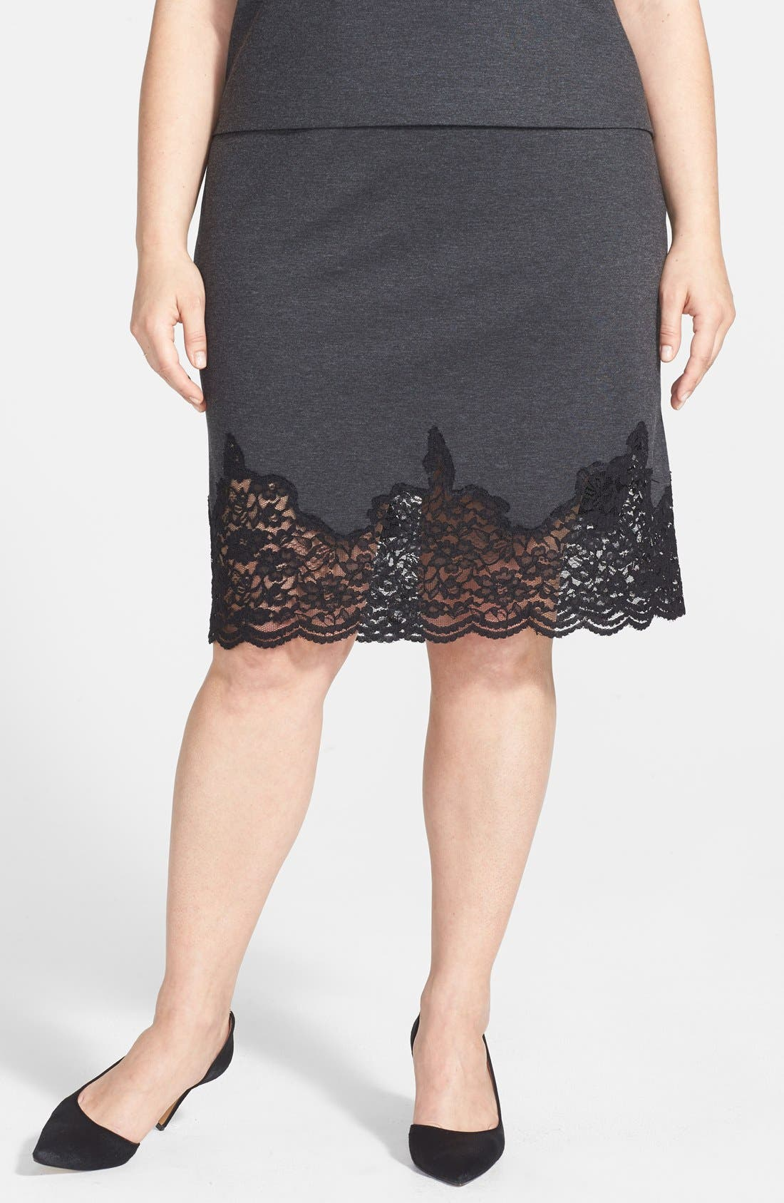 Alternate Image 1 Selected - Vince Camuto Lace Panel Pencil Skirt (Plus Size)