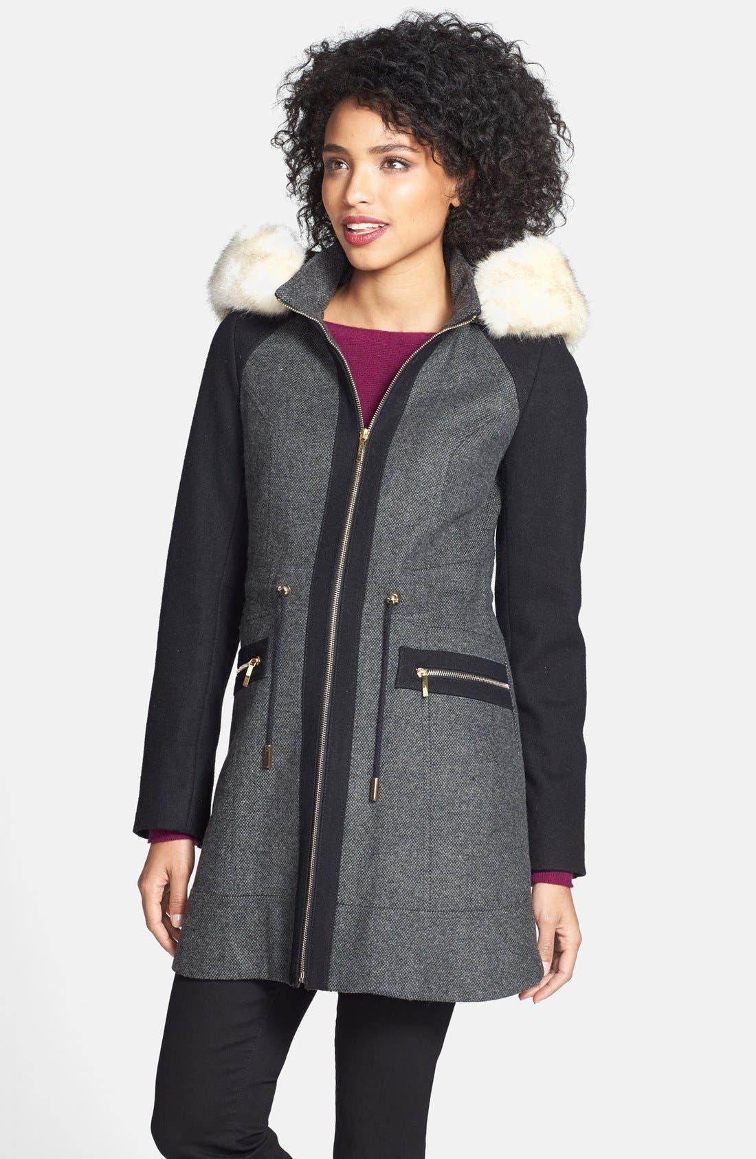 Alternate Image 2  - Laundry by Shelli Segal Faux Fur Trim Colorblock Tweed Coat