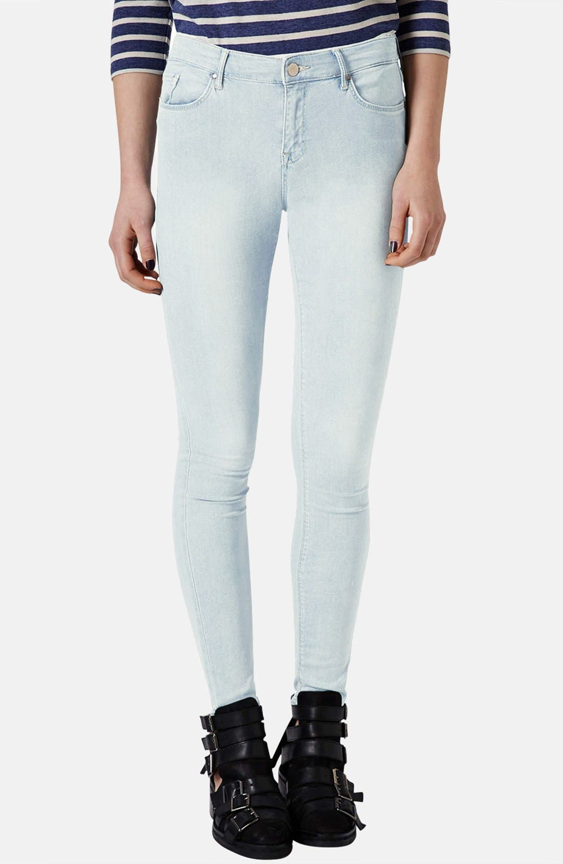 Main Image - Topshop Moto 'Leigh' Bleach Skinny Jeans (Regular & Short) (Light Denim)