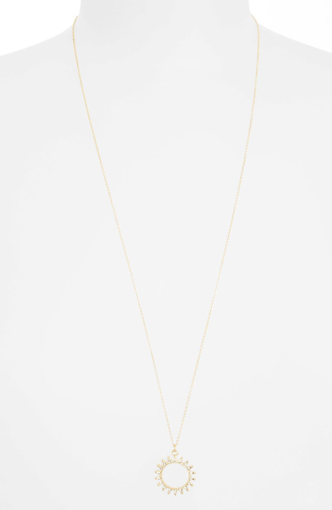 Alternate Image 1 Selected - Topshop Crystal Accent Round Pendant Necklace
