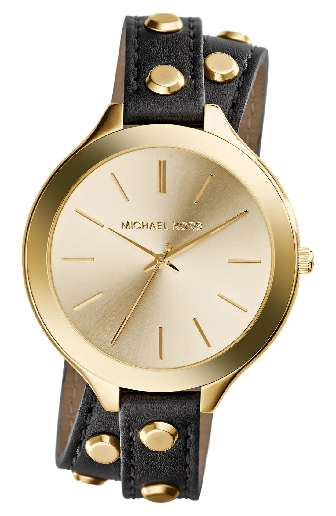 Main Image - Michael Kors 'Slim Runway' Double Wrap Leather Strap Watch, 42mm