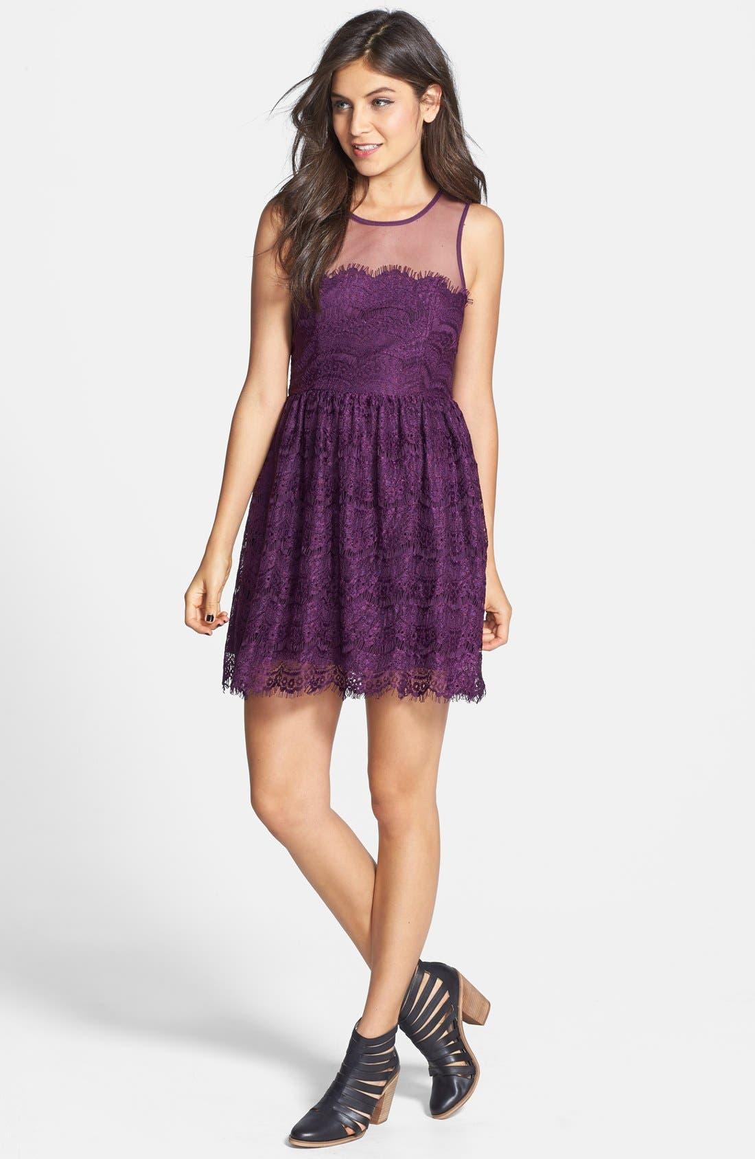 Alternate Image 3  - En Crème Eyelash Lace Skater Dress (Juniors) (Online Only)