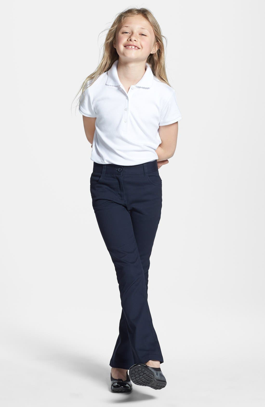 Alternate Image 3  - Nordstrom Straight Fit Stretch Cotton Pants (Little Girls & Big Girls) (Online Only)