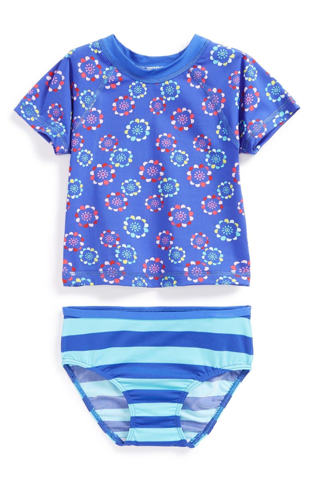 Main Image - Tea Collection Rashguard Shirt & Bottoms (Baby Girls)