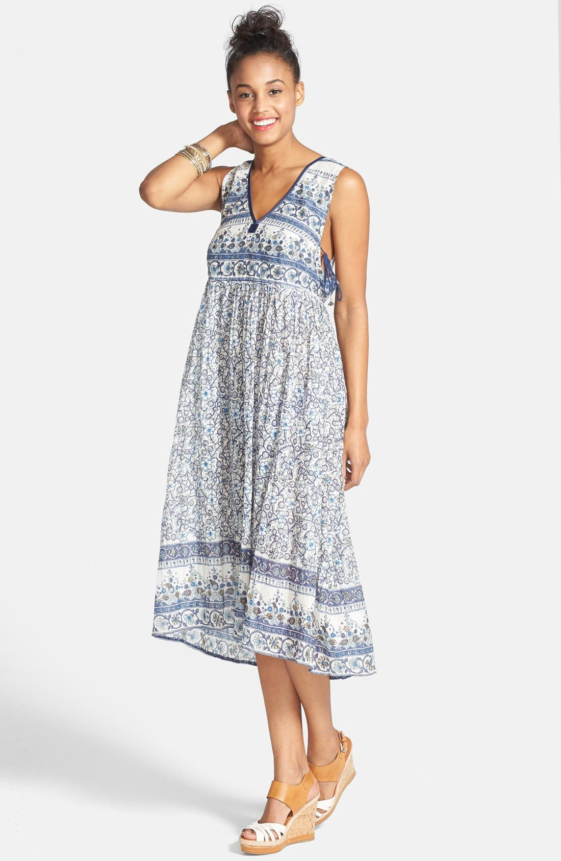 Main Image - Billabong 'I Heart This' Floral Print Midi Dress (Juniors)