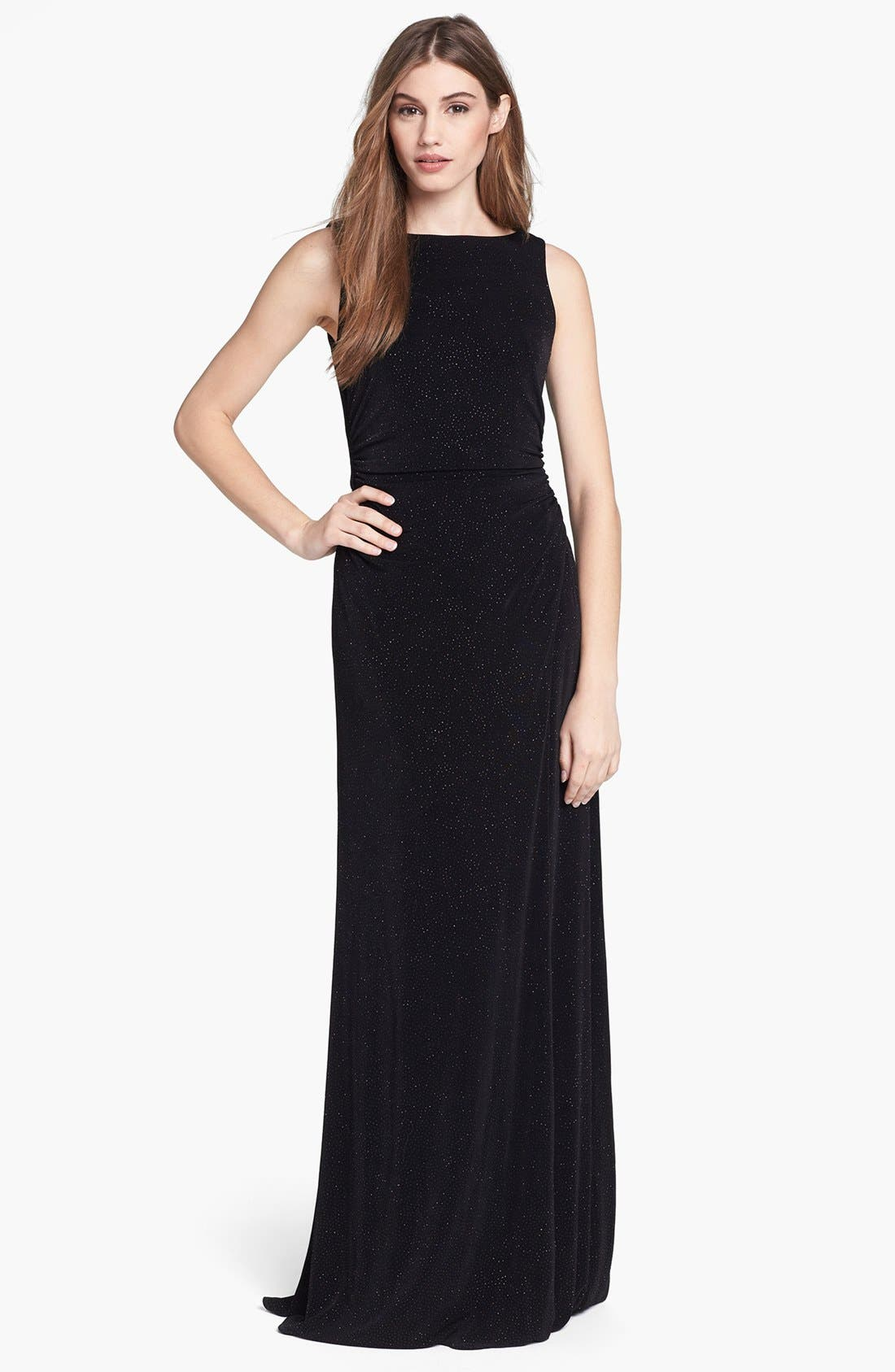 Alternate Image 1 Selected - Laundry by Shelli Segal Embellished Drape Back Gown (Petite)