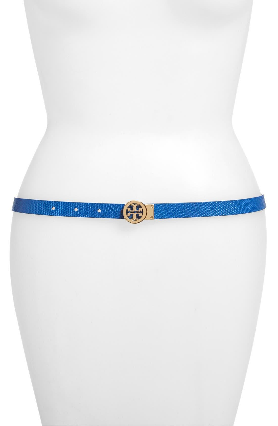 Alternate Image 1 Selected - Tory Burch Mini Rotating Logo Leather Belt