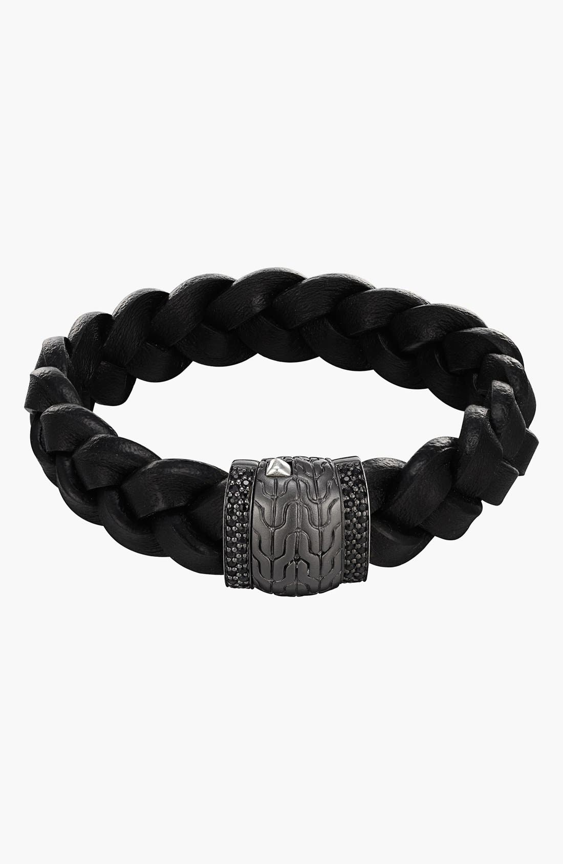 Main Image - John Hardy 'Classic Chain - Lava' Black Sapphire & Leather Bracelet