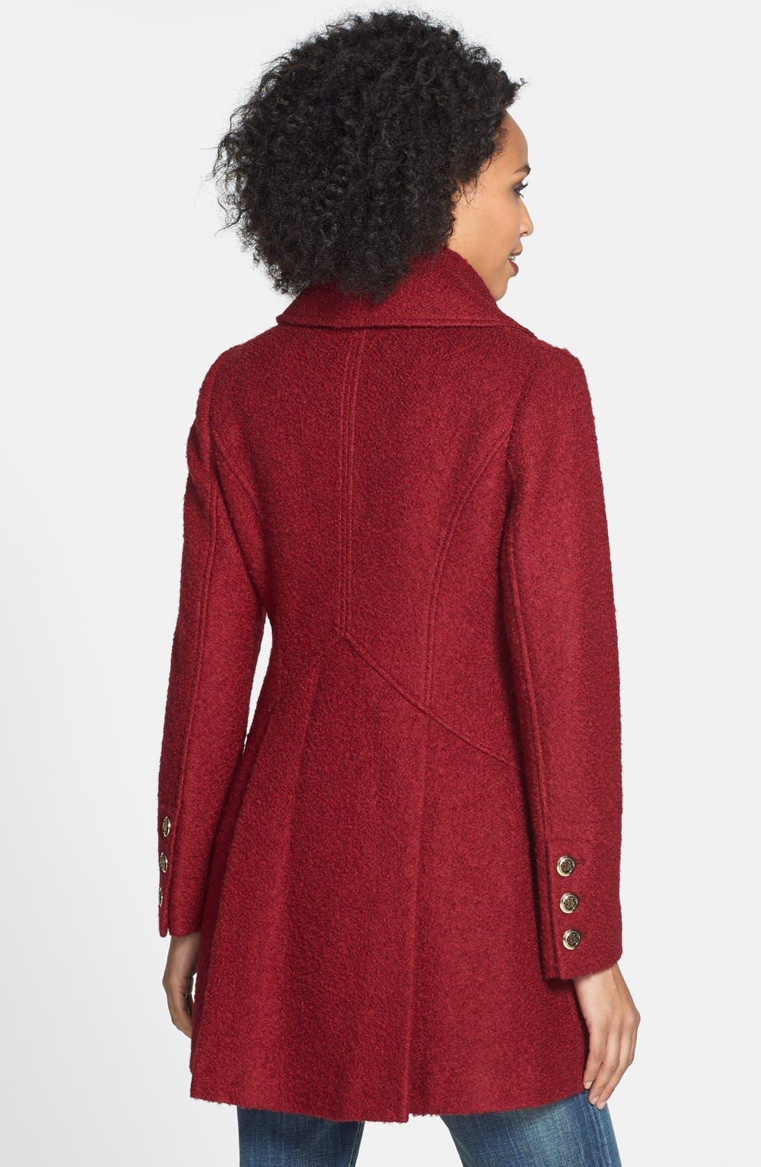 Alternate Image 2  - GUESS Cutaway Front Bouclé Coat (Regular & Petite) (Online Only)