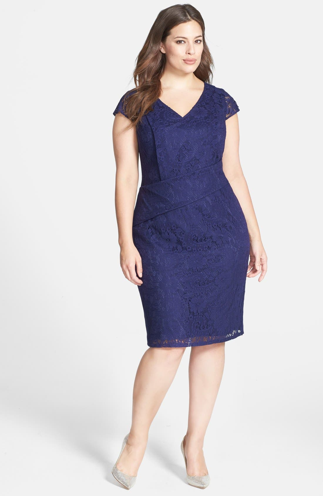 Main Image - Adrianna Papell Pleat Detail Lace Sheath (Plus Size)