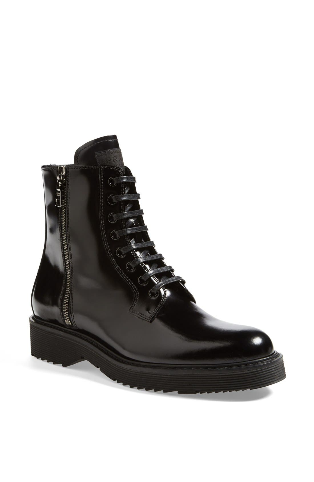 Alternate Image 1 Selected - Prada Lace-Up Short Boot (Women)