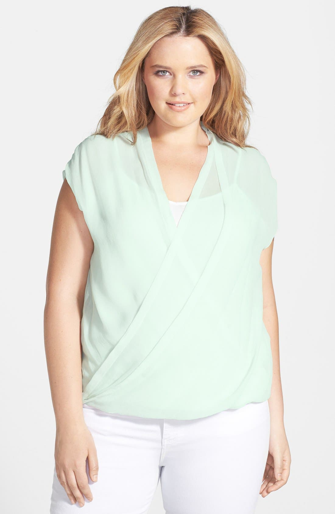 Alternate Image 1 Selected - DKNY Jeans Wrap Front Top (Plus Size)