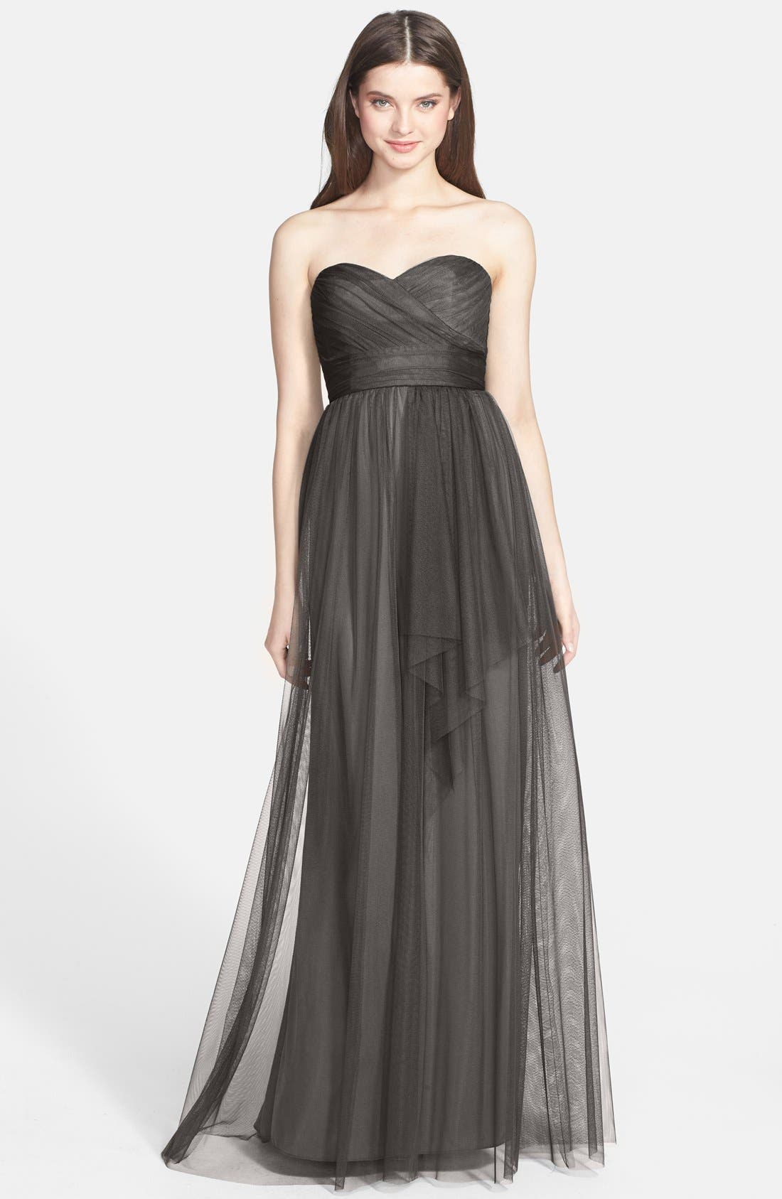 Alternate Image 1 Selected - Amsale Draped Tulle Gown