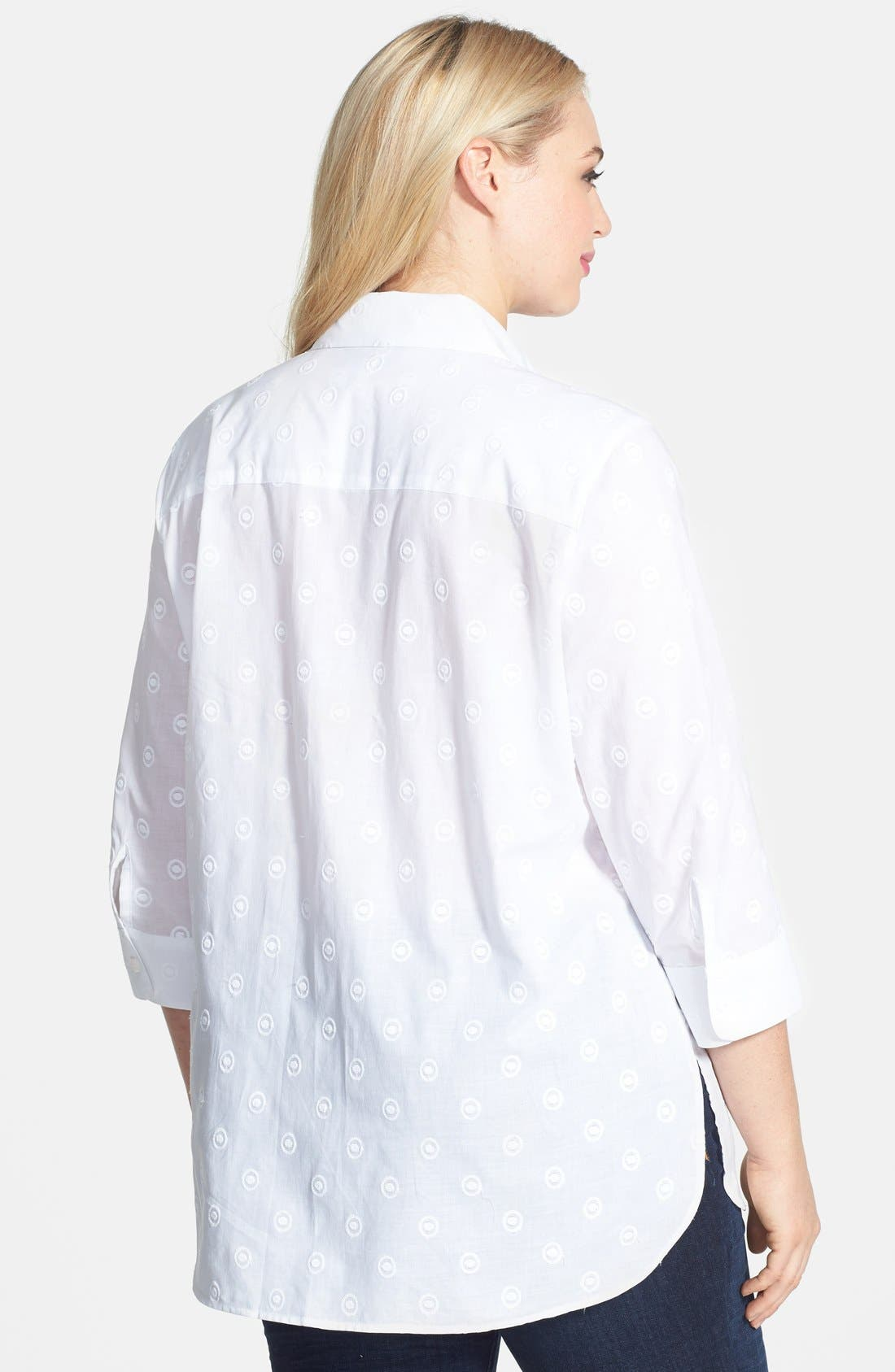 Alternate Image 2  - Foxcroft Embroidered Shaped Cotton Shirt (Plus Size)