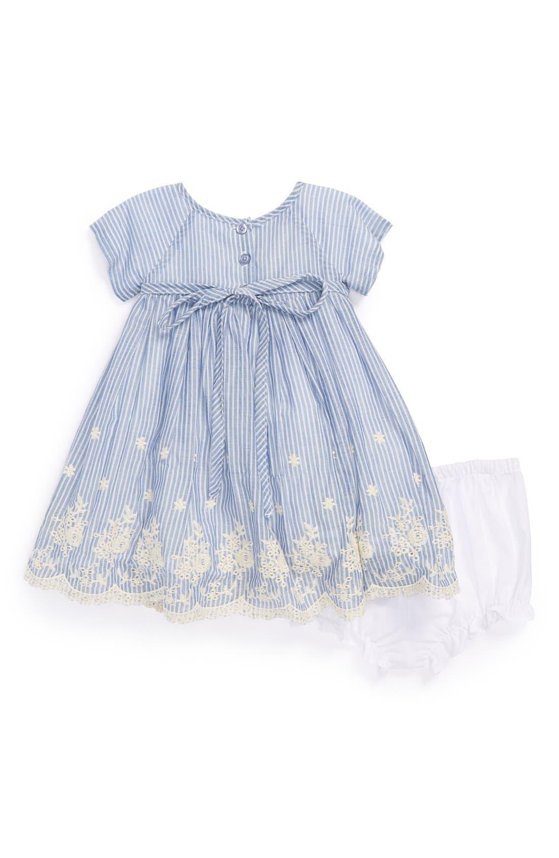 Alternate Image 2  - Pippa & Julie Chambray & Eyelet Dress & Bloomers (Baby Girls)