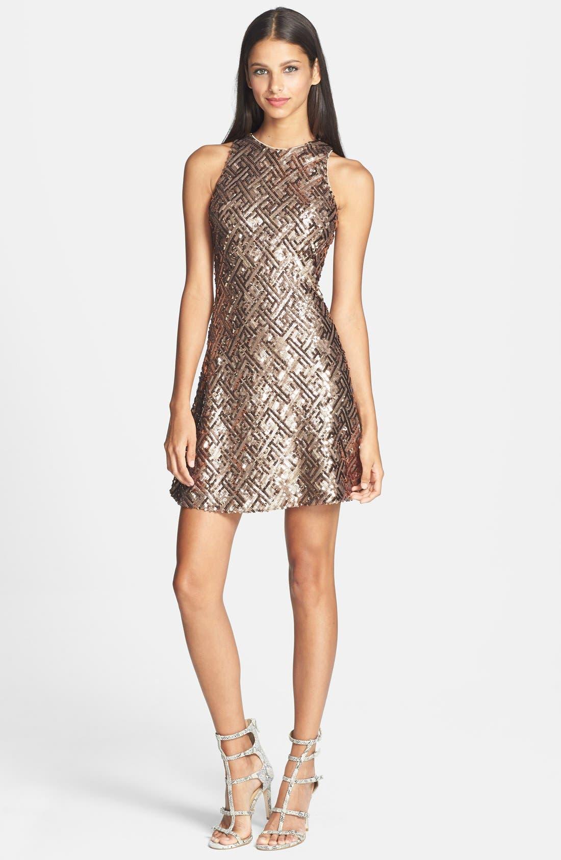 Alternate Image 3  - Dress the Population 'Mia' Sequin Cutaway Fit & Flare Dress